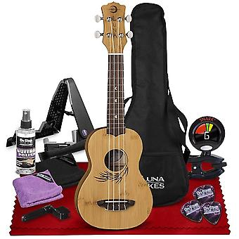 Luna 4-string ukulele  with mahogany neck, walnut fretboard, satin finish, deluxe accessories bundle with stand, care kit  tuner perfect ps21959