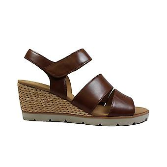Gabor Poet 752-24 Tan Leather Womens Wedge Sandals