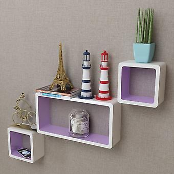 3 White-purple Mdf Floating Wall Display Shelf Cubes Book/dvd Storage