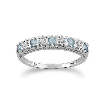 Gemondo 9ct alb aur 0.30 CT Blue Topaz & Diamond jumătate eternitate ring