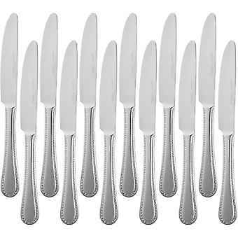Wokex - Tafelmesser mit Perlen-Rand, Edelstahl, 12er-Pack