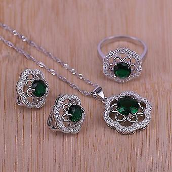 Wedding Jewelry, Silver Color Set, Crystal Necklace, Pendant, Earrings, Ring