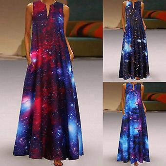 Star Print Casual Dresses, Women Vintage Maxi Dresses