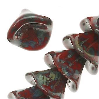 """חרוזי זכוכית צ'כית שלושה פרח עלי כותרת 12 מ""""מ אטום אדום / פיקאסו (12)"""