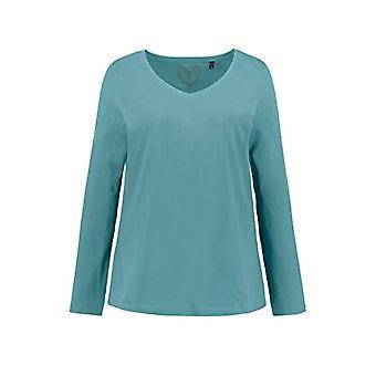 ULLA POPKEN Basic-Shirt, V-Ausschnitt, Slim, Baumwolle Long Sleeve T-shirt, Green (Dunkel Mint 71950548), 64 Women's