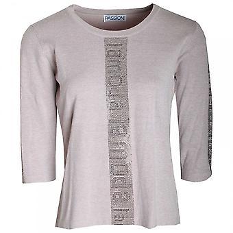 Passioni La Moda Print 3/4 Sleeve Knitted Jumper
