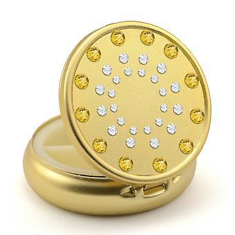 Pille Box in Gold Farbe mit Swarovski-Kristallen Sonne Design - leichte Topas - Kristall