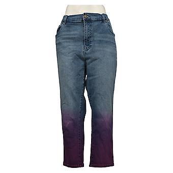 DG2 by Diane Gilman Women's Plus Jeans18W Stretch Dip Dye Crop Blue 743663