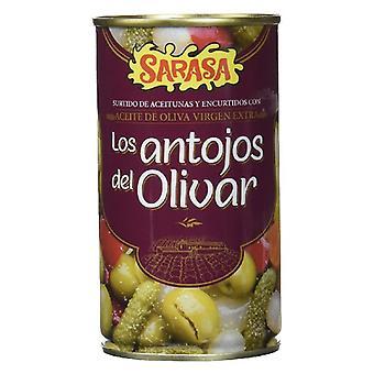 Sortiment av oliver och andra pickles Sarasa (350 g)