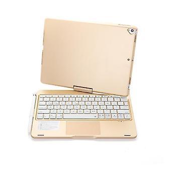 Tastatură bluetooth wireless, rotativă la 360 de grade cu iluminare de fundal pentru ipad 8 10.2 inch (Gold)