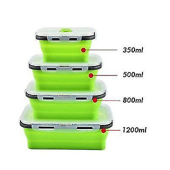 Set Of 4 Collapsible Silicone Food Storage Container,food Storage Box(Green)