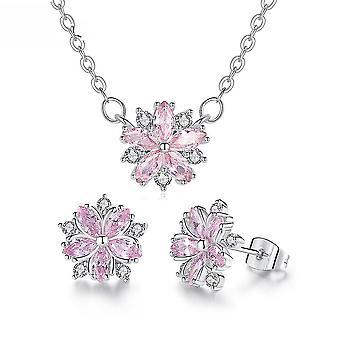 Jewelry Set Flower Romantic Petal Micro Inlaid Zircon Women Necklace Earrings For Birthday Gift