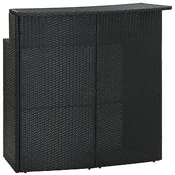 vidaXL Garden Bar Table Black 120x55x110 cm Poly Rattan