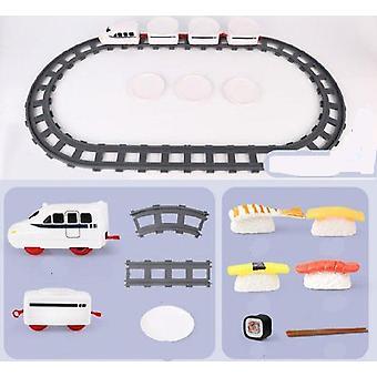 Juna pyörivä leluraita kuljetinhihna pyörivä pöytä lasten ruoka juna setti