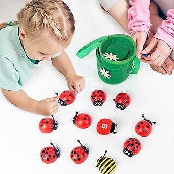 Liczenie biedronki Drewniane zabawki edukacyjne 0 10 liczby Nauka liczenia zabawki chrząszcza| Zabawki matematyczne