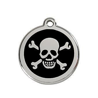 Pet leashes red dingo dog collar tag skull design black