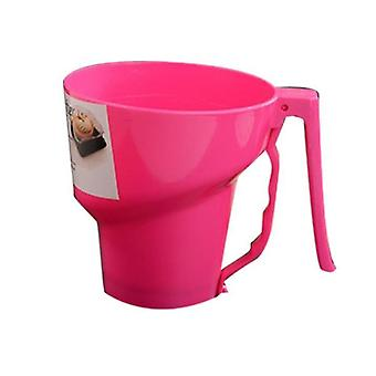 Baking cookie sheets manual flour sifter dessert pastry powder flour sieve sifter pastry bakery tools funnel shape pink