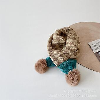 Retro Diamond Plaid Children's Knitted Scarf