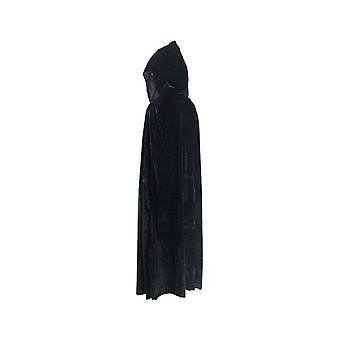 Adult Halloween Velvet Cloak Cape Hooded Medieval Costume Witch Wicca Vampire Halloween Costume Dress Coats Black