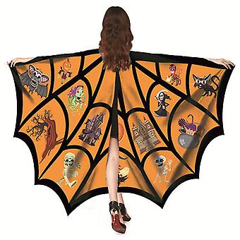 Halloween Cosplay Wing Spider Net Cape Cloak Medieval Witchcraft Cape Cloak