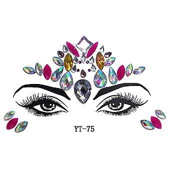 Masquerade Shiny Face Decoration 3d Crystal Sticker Music Festival Trendy Shiny Acrylic Drill Sticker Temporary Tattoo Sticker
