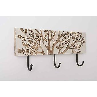 Wooden White Blooming tree 3 hooks for wall with Hanging Hooks
