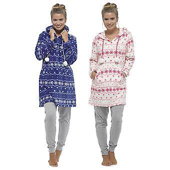 Señoras Tom Franks Fairisle Snow Print Coral Fleece Nightdress Nightwear Nightwear Nighties Sleepwear