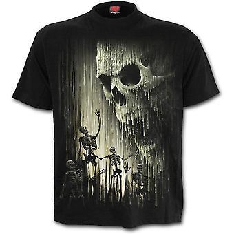 スパイラル - ワックススカル - メン&アポスTシャツ、ブラック