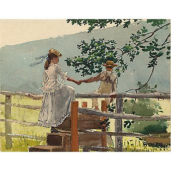 Winslow Homer - On the Stile Poster Print Giclee