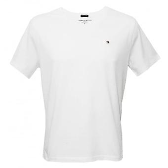 טומי הילפיגר אייקון צוות-חולצת כותנה בצוואר, לבן