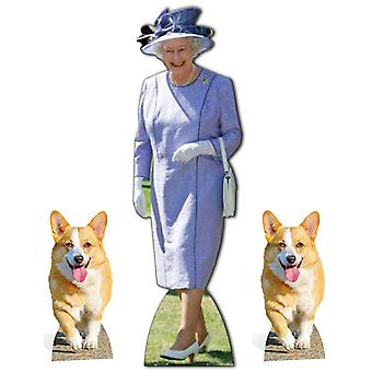 Queen Elizabeth II Lilac Dress with 2 Royal Corgis Cardboard Cutout / Standee Set