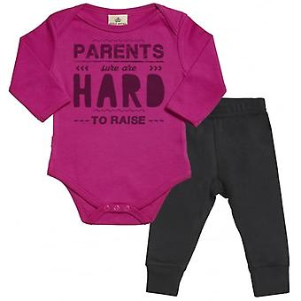 Spoilt Rotten Parents Hard To Raise Babygrow & Jersey Trousers Outfit Set