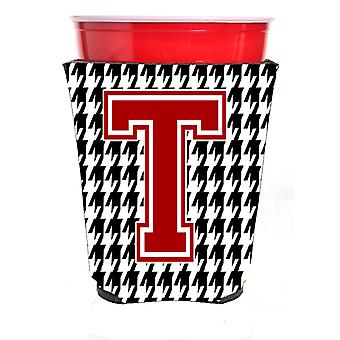 Monogram - Houndstooth  Initial  T Red Solo Cup Beverage Insulator Hugger