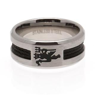 Manchester United Black Inlay Ring Small