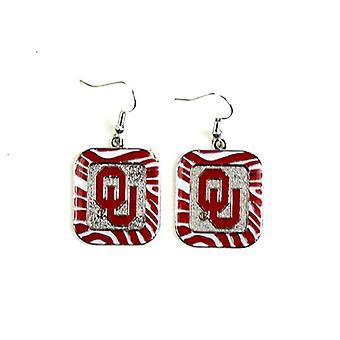 Boucle d'oreille de Style Oklahoma Sooners NCAA Zebra
