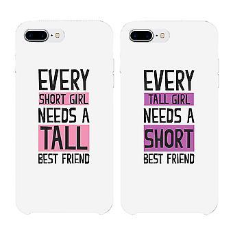 背の高い友人と短い友人 BFF ホワイト一致する携帯電話ケース