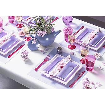 Party Geschirr Romantic Set für 6 Gäste 79-teilig Partypaket lila pink rosa Partypaket