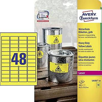 Avery-Zweckform L6103-20 Labels 45.7 x 21.2 mm Polyester film Yellow 960 pc(s) Permanent All-purpose labels, Weatherproof labels