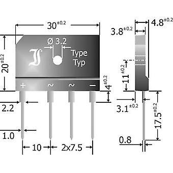 Diotec GBI25K Diode bro SIL 4 800 V 25 A 1-faset