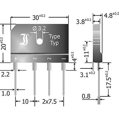 Diode GBI25G Diotec pont SIL 4 400 V 25 A 1 phase