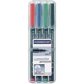 STAEDTLER Lumocolor permanent F DRY SAFE 318 WP4 permanente marker rood, blauw, groen, zwart waterdicht: Ja
