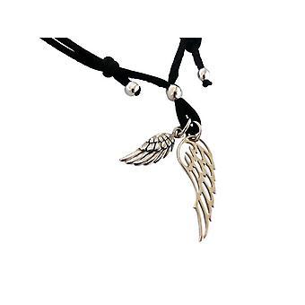 Pulseira de pulseiras pulseira fita de seda preto prata 925 de asas