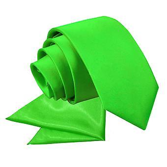 Apple Green platte satijnen stropdas & zak plein voor jongens instellen