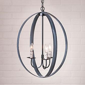 Irvin's Country Tinware 20-Inch Oval Sphere Chandelier in Black