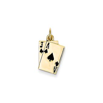 14k Yellow Gold Solid Polished Enameled Blackjack Playing Cards Charm - 1.2 Grams - Measures 16x11mm