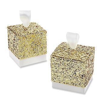 TRIXES Glitter ouro favor caixas com fita Pack de 50 doces e presentes