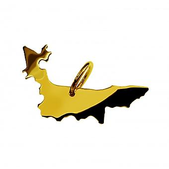 Trailer map POMERANIAN pendant in solid 585 gold