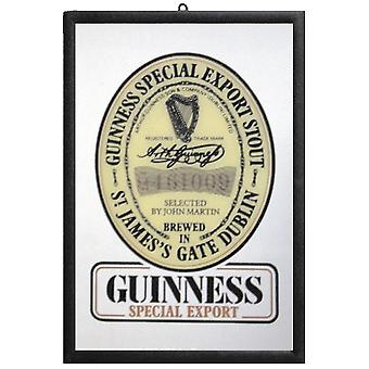 Guinness mirror wall mirror with black plastic framing wood.