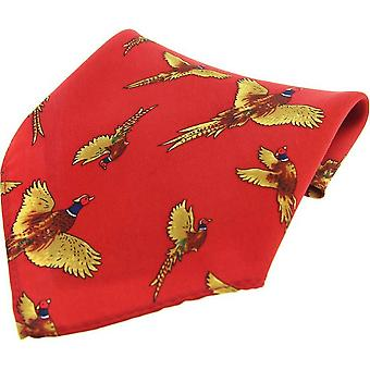 David Van Hagen Flying Pheasant Country Silk Pocket Square - Red