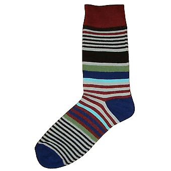 Bassin and Brown Multi Stripe Midcalf Socks - Wine/Grey/Blue
